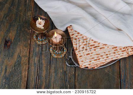 Shabbat Shalom Matzah And Wine Traditional Jewish Sabbath Ritual