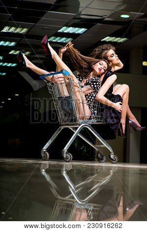 Shopping Women Sit In Trolley Cart. Shopping, Shop, Shopper, Shopaholic.