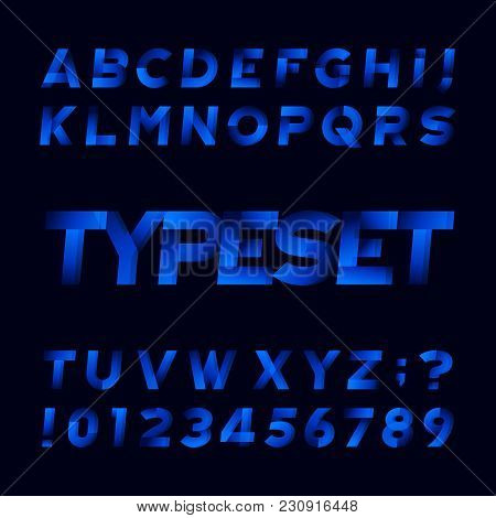 Abstract Alphabet Font. Oblique Type Letters And Numbers. Black Background. Stock Vector Typeface Fo