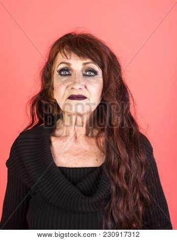 Senior Model With Wrinkled Face, Aging Skin, Makeup, Look. Anti Aging, Rejuvenation, Lifting. Woman