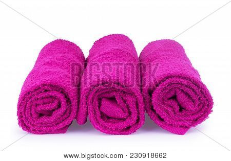 Pink Towel Isolated On A White Background