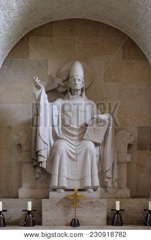 MUNSTER SCHWARZACH, GERMANY - JULY 09: Pope Gregory I, altar in Munster schwarzach Abbey, Benedictine monastery, Germany on July 09, 2017.