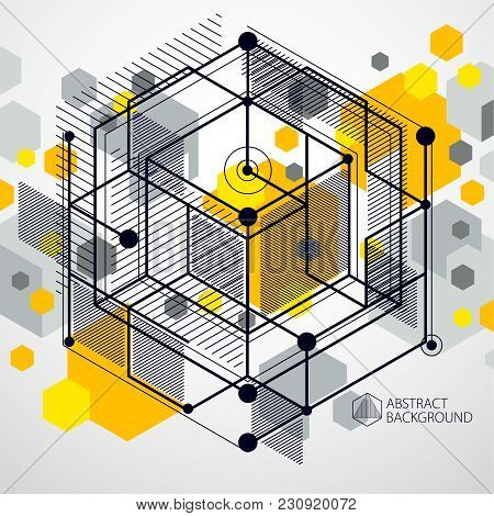 Trend Isometric Geometric Pattern Yellow Background With Bright Blocks And Cubes. Technical Plan Can