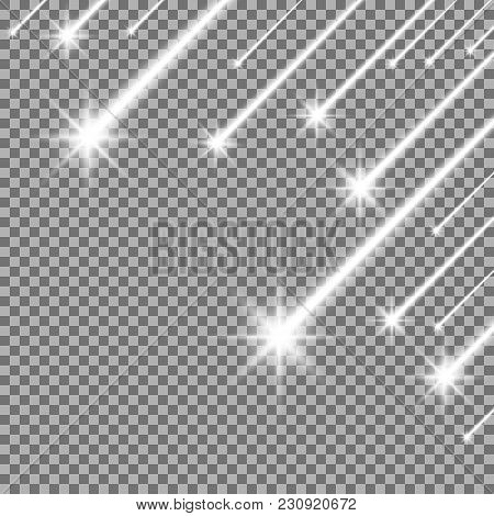 Glowing Falling Stars On Transparent Background, Light Effect, White Color