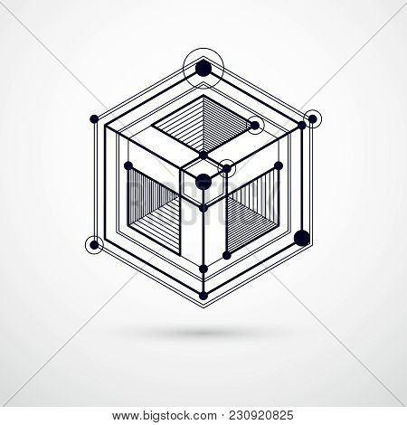 Vector Abstract Black And White Background Created In Isometric Mesh Lines Style. Mechanical Scheme,