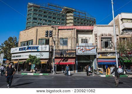 Tehran, Iran - October 15, 2016: Buildings At Crossroads Of Jomhouri Avenue And Ferdowsi Avenue In T
