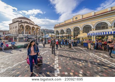 Athens, Greece - October 24, 2016: Monastiraki Square In Athens With Tzistarakis Mosque On The Left