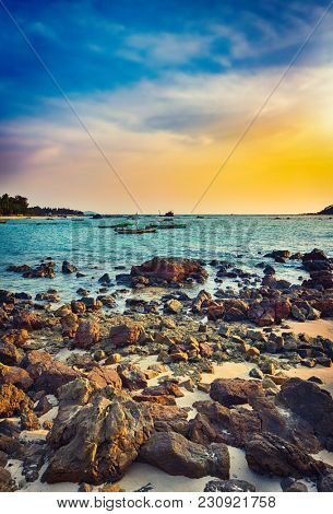 Seascape at sunset time. Beautiful landscape of the Indian ocean. Amazing view.  High resolution
