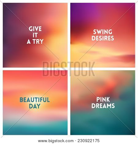Abstract Vector Multicolored Blurred Background Set. 4 Colors Set. Square Blurred Backgrounds Set -