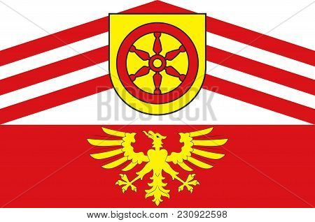 Flag Of Guetersloh Is A District In The North-east Of North Rhine-westphalia, Germany. Vector Illust