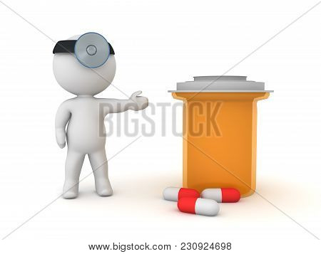 3D Doctor Showing Pharmacy Bottle With Capsules