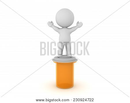 3D Character Standing On Top Of Pill Capsule Container