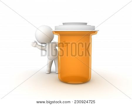 3D Character Waving From Behind Large Pill Capsule Container