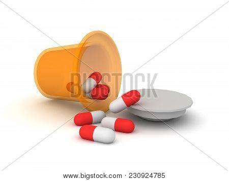 3D Drug Pharmaceutical Bottle Spilled Capsules