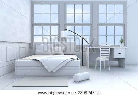 White Bed Room Decor With Tree In Glass Vase, Pillows, Blanket, Window, Sky, Lamp,desk,book,bed,bols
