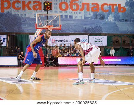 Samara, Russia - December 01: Bc Cska Guard Aaron Jackson #9 With Ball Goes Against A Bc Krasnye Kry