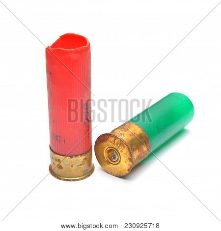 Fired Gun Shell Cartridges Isolated On White