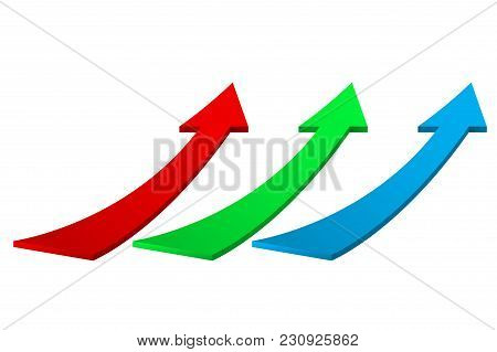 Up Moving Colored Arrows. Vector 3d Ilustration Isolated On White Background