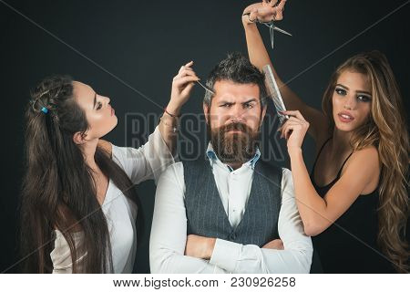 Friends At Hairdresser Salon, Lgbt. Women With Comb, Scissors Cut Hair. Bearded Man, Sexy Women With