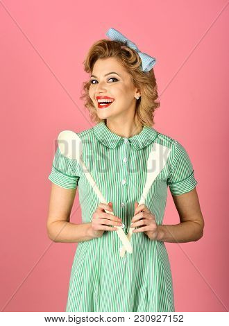 Chef Cooking, Wife. Everyday Life, Housework. Pinup Woman Cook Hold Kitchenware, Retro Style, Maid.
