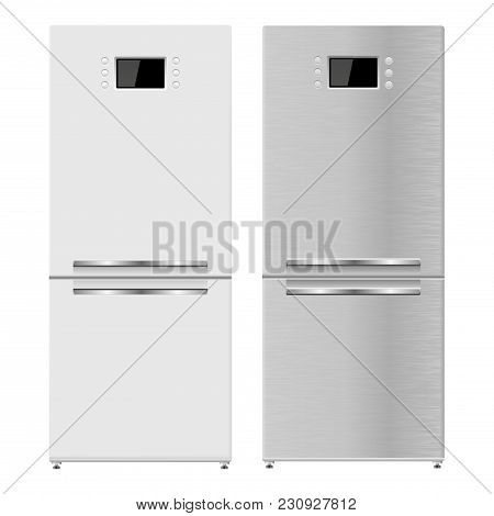 Refrigerator. 3d Model. Vector Illustration Isolated On White Background