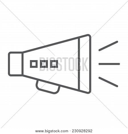 Promotion Thin Line Icon, Development And Business, Loudspeaker Sign Vector Graphics, A Linear Patte