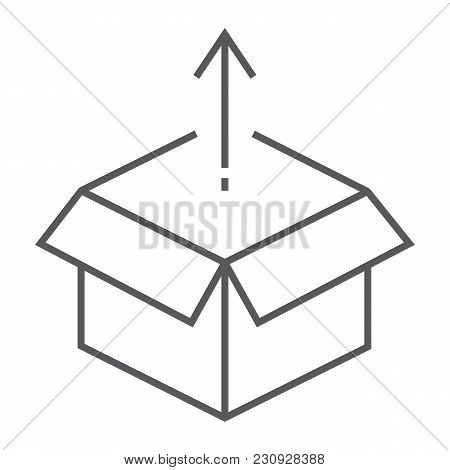 Product Release Thin Line Icon, Development And Business, Open Box Sign Vector Graphics, A Linear Pa