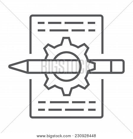 Content Management Thin Line Icon, Development And Business, Seo Sign Vector Graphics, A Linear Patt