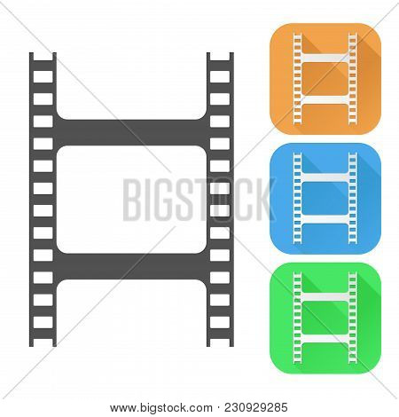 Film Clip. Colored Icons. Vector Illustration Isolated On White Background