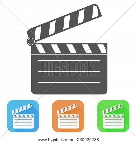 Movie Filming. Colored Icons. Vector Illustration Isolated On White Background