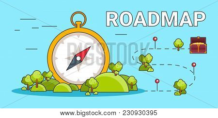Roadmap Pathway Business Illustration With Compass Concept