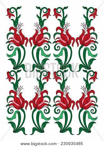 Color Bouquet Of Flowers (lily) Using Traditional Ukrainian Elements. Seamless Pattern. Can Be Used