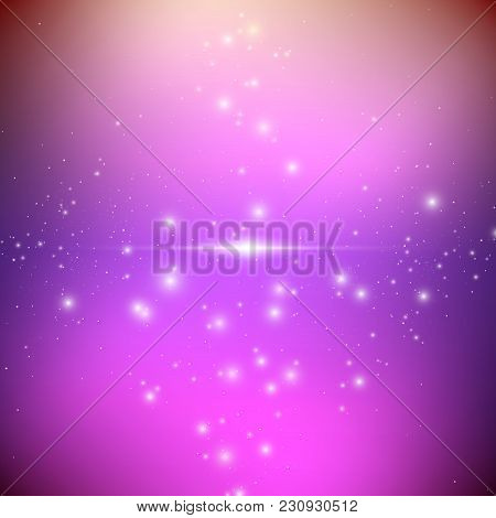 Cosmic Galaxy Background With Bright Shining Stars. Illusion Ufo With Nebula And Star Dust. Alien Sp