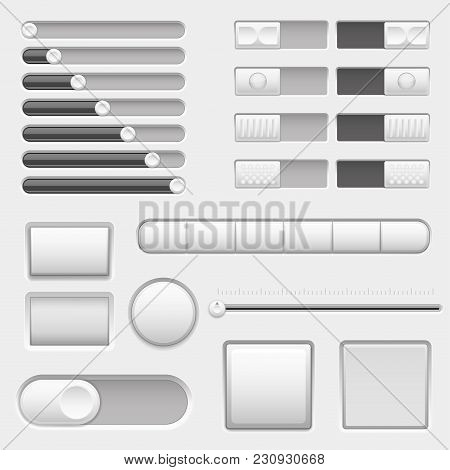 Set Of Interface Navigation Buttons, Sliders. Vector 3d Illustration