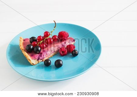 Wedge Currant Tart Heap Berry Decorated White Wooden Background.