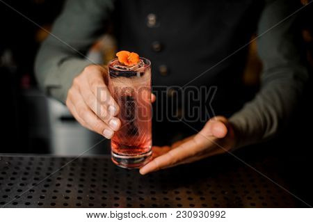 Bartender Hand Holding A Glass With Summer Light Sour Cocktail With Pink Peach Liquor Decorated With