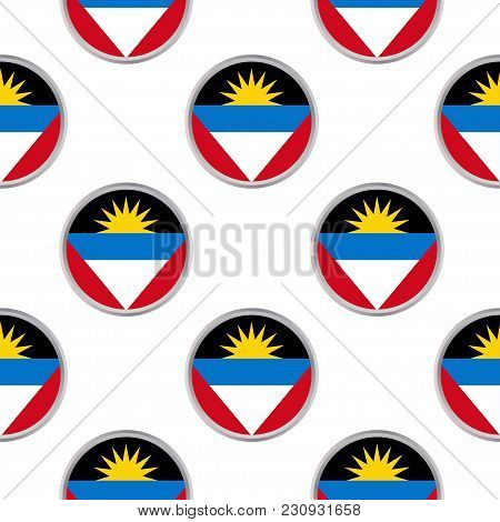 Seamless Pattern From The Circles With Flag Of Antigua And Barbuda. Vector Illustration