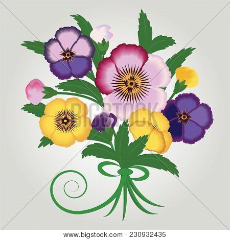 Bouquet Of Wild Flowers Bright Pansies Isolated On A Light Background Art Creative Modern Vector Ill