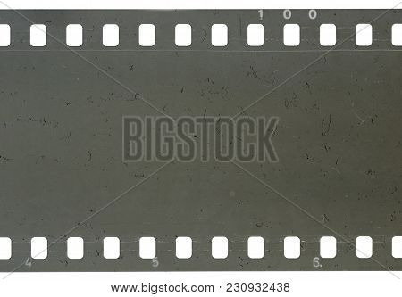 Strip Of Old Celluloid Film On White Background
