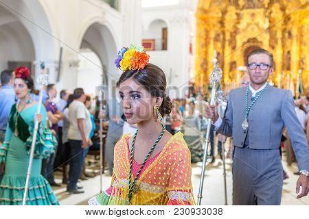 El Rocio, Spain-may 22, 2015 Spaniards Are Praying And Preparing For The Holy Service. El Rocio