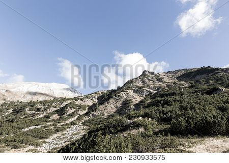 Beautiful Authentic Rocky Landscape Of The Pyrenees. Bulgaria. Natural Mountain Landscape As Backgro