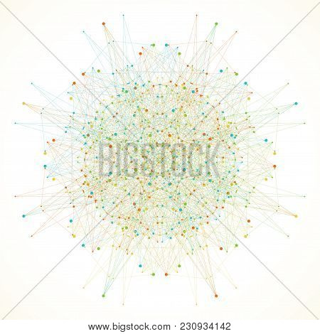 Geometric Abstract Round Form With Connected Line And Dots. Minimalism Chaotic Illustration Backgrou