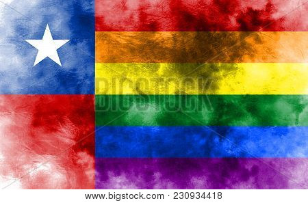 Chile Gay Grunge Flag, Chile Flag, Gay Flag