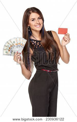 Credit Card Or Cash. Smiling Woman Showing Blank Credit Card And Holding Cash Us Dollars, Over White