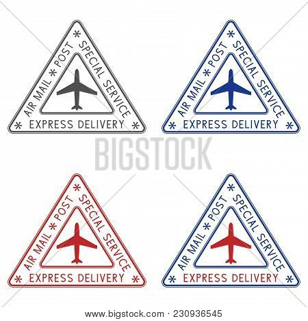 Post Stamps Express Delivery. Colored Triangle Postmarks For Envelope. Vector Illustration Isolated