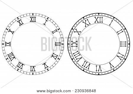 Clock Face With Roman Numerals. Vector Illustration Isolated On White Background