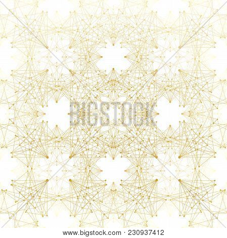 Geometric Abstract Background. Connected Line And Dots. Linear Golden Grid With Circles In Nodes. Re