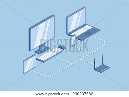 Wifi Router Technology, The Local Network. Desktop, Laptop And Mobile Gadgets Are Connected To The N
