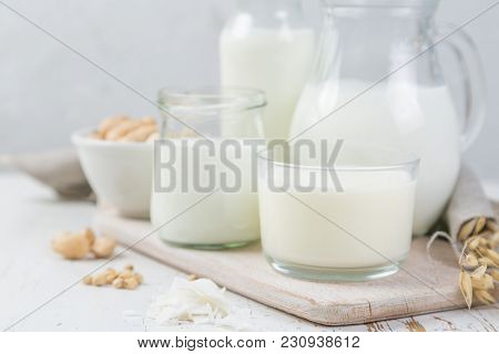 Selection Of Non-dairy Milk Alternatives In Different Bottles. Lactose Free Milk. Healthy Lifestyle