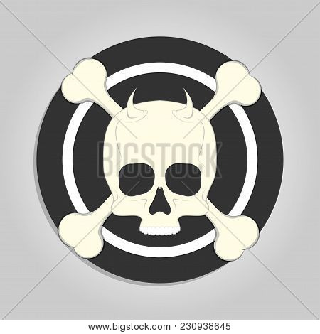 Skull And Crossbones Over Black And White Target Like Sticker For Print Isolated On Gray Background